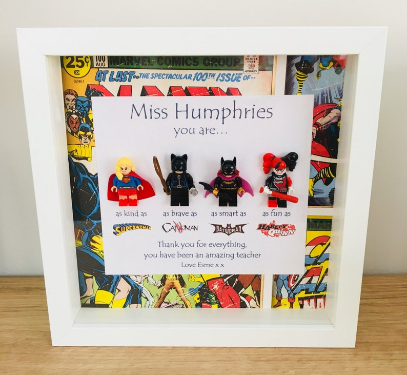 Personalised 3D Lego Picture Frame Superhero Marvel Family Tree Mother's Day Mum
