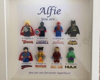 Handmade Personalised Picture Frame Lego Superhero Marvel