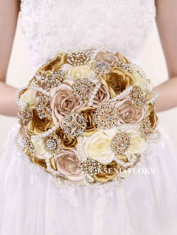 Gold Wedding Bouquet Brooch Bouquet Ivory Champagne Gold Roses Etsy