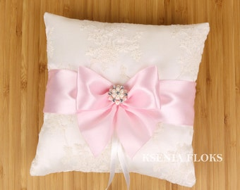 Wedding Ring Bearer Pillow, Pink and Ivory Ring Pillow, Lace Ring Pillow, Wedding Pillow, Ring Pillow, Wedding Decor, Wedding Accessories