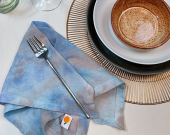 MOONSTRUCK cloth napkin set - Handmade and Hand-Dyed - Reusable - for Dinner Parties, Weddings, and Cocktails
