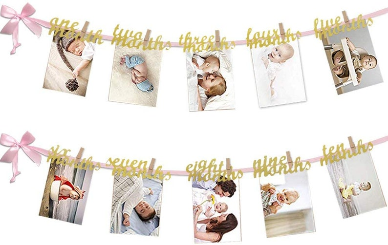 4 X 6 Inches 12 Month Photo Banner First Birthday Decoration Photo Banner for First Birthday Party Tiny Wooden Clothespins Glitter Cardstock