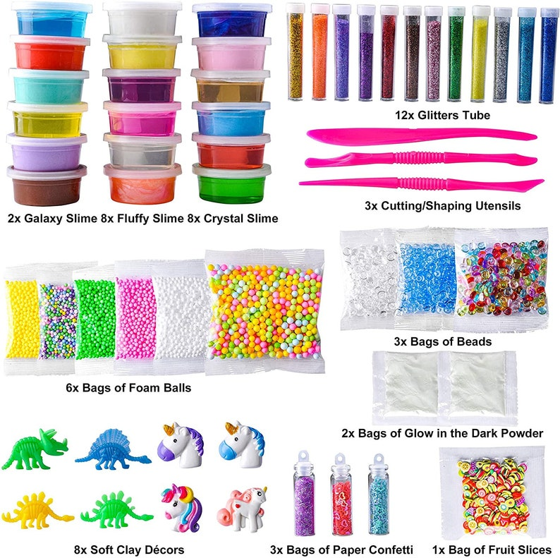 56pcs DIY Slime Kit Making Art Craft with 18 Slime and 38 Accessories Fruit Slices Beads Foam Balls Cutting Tools Soft Clay Glitter Tubes