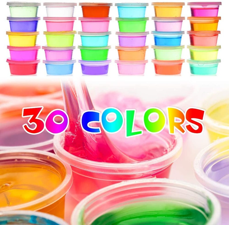 135 Pack Slime Making Kit 30 Crystal Slime Glitter Jars Charms Sugar Paper Foam Beads Fishbowl Beads Toy Cups Slices Air Dry Clay and Tools