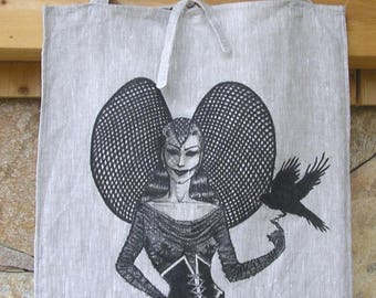 Dark lady, Shopper bag, raw linen, hand painted, woman with hat, Gothic style, original design, shopping bags, unique piece