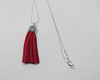 Red necklace, silver necklace, tassel necklace, red tassel necklace, leather necklace, red leather, red leather necklace