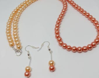 Orange necklace, summer jewellery set,  pearl necklace set, pearl earrings orange, two tone necklace, boho pearl necklace,