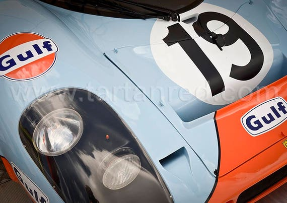 Porsche 917 K Gulf Racing Le Mans 24 Hour Racing Car, A4 or A13 Fine Art Giclee Canvas Print from Original Photograph by Marcus Pomfret