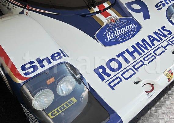 Porsche 962 Rothmans Le Mans 24 Hour Racing Car, A4 or A3 Fine Art Giclee Canvas Print from Original Photograph by Marcus Pomfret