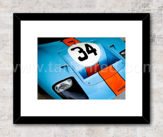 Ford GT40 Gulf Le Mans, 1960s Race Photo / Print, Wall Art