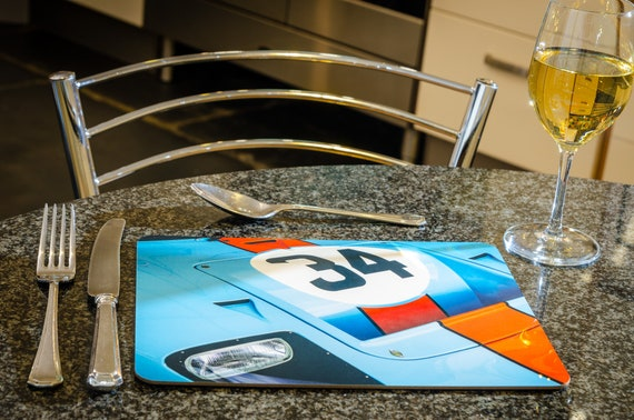 Ford GT40, Gulf Team, Le Mans 24h, Dining Table Mat, 260mmx 200mm, High Gloss Finish
