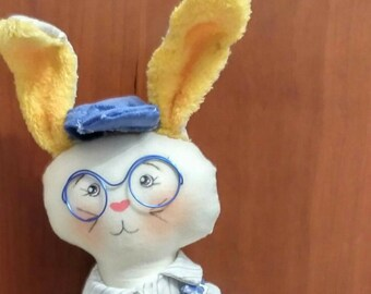 Easter Bunny Artisan. Made and hand-painted. Doll, Rag, cloth. Rabbit. Doll