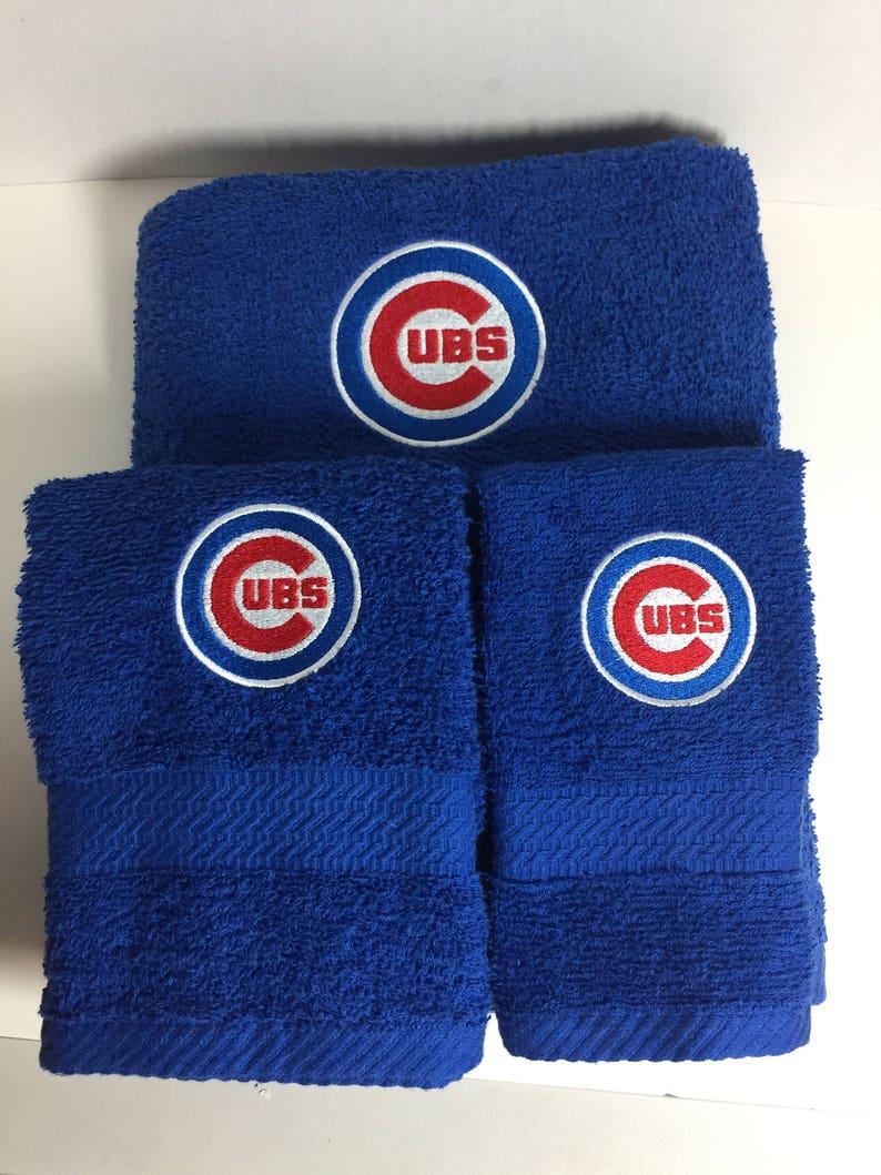 8ae0a069a Chicago Cubs Towel Set Cubs Bath Towel Set Cubs Hand towel   Etsy