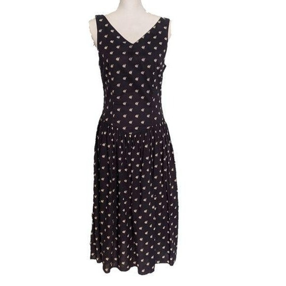 Eileen West Dress 10 Navy Blue Fish Vintage Midi