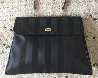 a56e7ce046b1 Vintage FENDI FF Monogram Large PEQUIN Stripe Leather Logo Crossbody Clutch  Tote Bag Purse Zucca Satchel