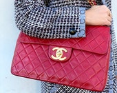 Vintage 90 39 s CHANEL Jumbo Maxi Matelasse CC Logo Turnlock RED Lambskin Leather Crossbody Shoulder Bag Purse Chain Strap - Great Cond