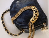 Vintage CHANEL CC Logo Charm Black Quilted Leather Bowler Vanity Bag Clutch Purse Bag Pouch w Gold Chain