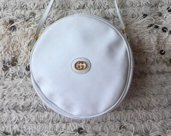 1cd1f6164f57 Vintage GUCCI GG MONOGRAM White Canteen Round Crossbody Purse Bag Clutch