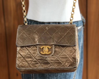 a02a36d8367c22 Vintage 80's CHANEL CC Turnlock Logo Quilted Bronze Gold Matelasse Leather  Flap MINI Crossbody Purse Bag Handbag Clutch Gold Chain
