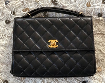 a58b1bba9552 Vintage CHANEL CC Turnlock Quilted Matelasse Leather Briefcase Mini bag  Purse Attache Clutch Crossbody