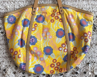 7a6d2e4a8981 Vintage 90's XXL CHANEL CC Logos Monogram Yellow Floral Canvas Leather and  Raffia Tote Purse Beach Shoulder Bag