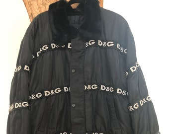 8817ef4b31ee Vintage 90's Dolce Gabbana Iconic D&G Monogram Ski Snow Puffer Jacket  Bomber Coat - Rare!