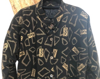 dc13405d3a7b Vintage 90 s Yves Saint Laurent YSL Iconic Monogram Print Black Gold Trench  Jacket Coat - Rare!
