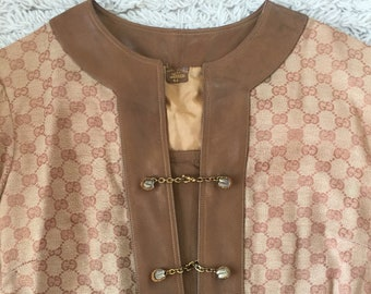 c90c0d71bce Vintage 90's GUCCI GG MONOGRAM Canvas Leather Dress Tunic Blouse Jacket  Shirt Coat Trench - Rare!!! It 44 us S / M