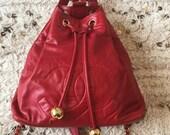 Vintage CHANEL Large Huge CC 39 s Drawstring Red Lambskin Leather Backpack Handbag Shoulder Purse Bag Rucksack w Charm CC Balls