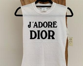 dfc346a90 Vintage Christian Dior Paris J'Adore World Champions 1947 Script White  Black Tank Top / T Shirt Tee Blouse JOHN GALLIANO - RARE New w Tags!