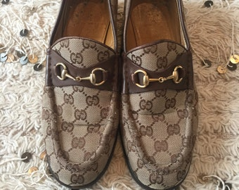 9f13a24f501 Vintage 70 s GUCCI GG MONOGRAM Beige Brown Canvas Horsebit Loafers Slip On  Smoking Shoes us 7.5 - 8