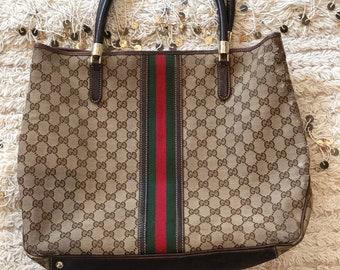 c46bbfd2640 Vintage 70 s GUCCI GG Monogram Red Green Webbing Large SUPREME Tote Purse  Satchel Shoulder Bag