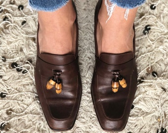 50ee2146211 Vintage 70 s GUCCI SUPREME Bamboo Charm Dk. Brown Leather Loafers Slip On  Heels Shoes eu 37.5 us 7 - 7.5