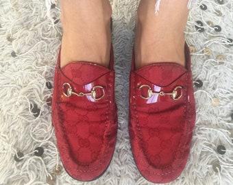 8911265ba63 Vintage GUCCI GG Guccissima Monogram RED Canvas Leather Horsebit Flats  Mules Slides Loafers eu 38 us 7.5 - 8