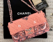 Vintage 90 39 s CHANEL CC Logos Monogram Bandana Pink Quilted Fabric Crossbody Shoulder Bag Purse Chain Strap