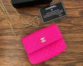 Vintage 90 39 s CHANEL CC Logo Pink Jersey Cotton Fabric Leather Gold Chain MINI Micro Flap Crossbody Purse Bag Handbag Evening Clutch