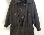 Vintage 90s CHANEL Hooded Quilted LOGO Monogram Letter Lining Coat Trench Jacket Army Green w CC buttons