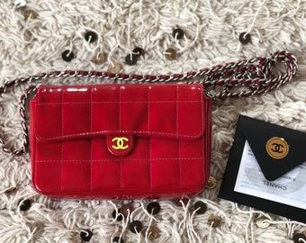 5864eb37d3d1 Vintage 90s CHANEL CC Logo 2 WAY Red Patent Quilted Leather Chain Crossbody  / Fanny Waist Bum Belt Bag Pouch Purse Pack