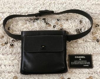 77b082ecb Vintage 90s CHANEL CC Turnlock Black Leather Minimalist FANNY Waist Bum  Belt Bag Pouch Purse Pack 80 / 32 - S M L