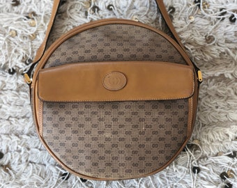 27d41044803c45 Vintage XL GUCCI GG Monogram Brown Tan Leather Canteen Round Crossbody Purse  Bag Clutch