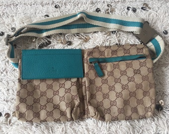 db23f4e407fd Vintage GUCCI GG Monogram Canvas Teal Blue White Webbing Stripe Leather  FANNY Waist Bum Belt Bag Pack