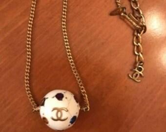 Vintage 90's CHANEL CC Logo Gold w Ivory Enamel Ball Charm Pendant Necklace Jewelry