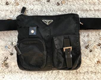 7c72b1ae543b Vintage 90s RARE PRADA FANNY Bum Waist Belt Bag Travel Crossbody 2 way Purse  in Black Nylon