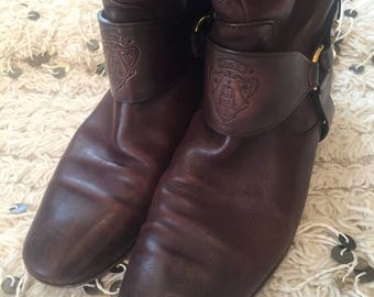 bc48df6a0a2 Vintage 80 s GUCCI CREST Monogram Riding Boots Motorcycle Moto Booties  Heels eu 37 us 6.5 - 7