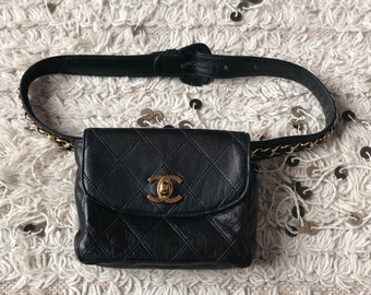 4deb3c3dc9ea Vintage 90s CHANEL CC Turnlock Black Quilted Leather Gold Chain FANNY Waist  Bum Belt Bag Pouch Purse Pack