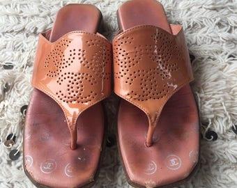 f8713ff76ad14 Vintage CHANEL RETRO Triple CC Perforated Logos!! Patent leather Mules Sandals  Flip Flops Slides Slip On Wedges Clogs eu 38 us 7 - 7.5