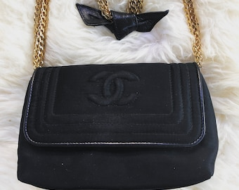 42f601747ae0 Vintage 90s CHANEL CC Black Satin Quilted w Gold Chains   Leather Bow  detail Purse Shoulder Crossbody Clutch Evening Bag