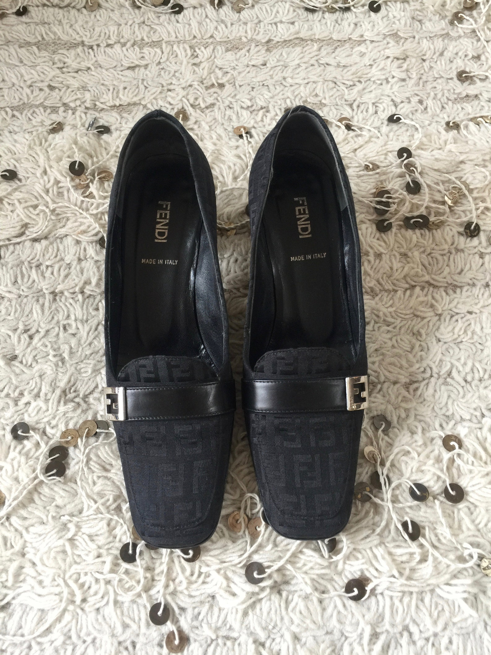 vintage fendi zucca ff monogram black loafers heels driving shoes smoking slippers ballet flats 37 us 6.5 - 7