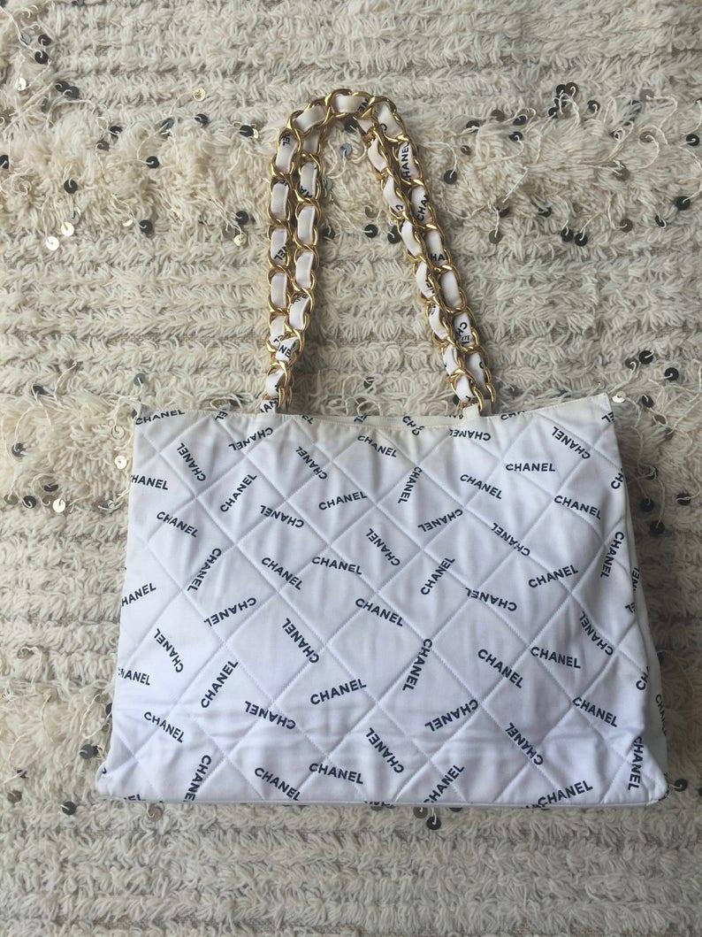 b2d6b8931b84 Vintage CHANEL CC LOGO Mania Chain Canvas Handbag Tote | Etsy