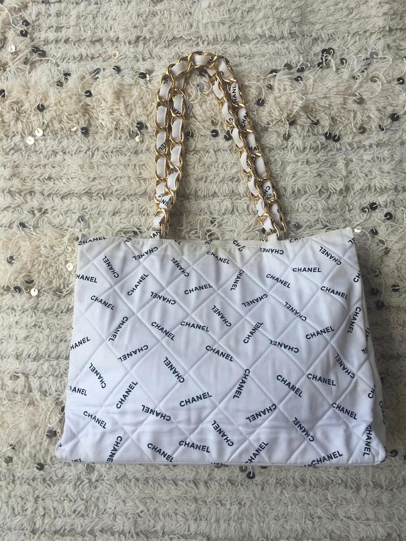 578d2f4ead4 Vintage CHANEL CC LOGO Mania Chain Canvas Handbag Tote | Etsy